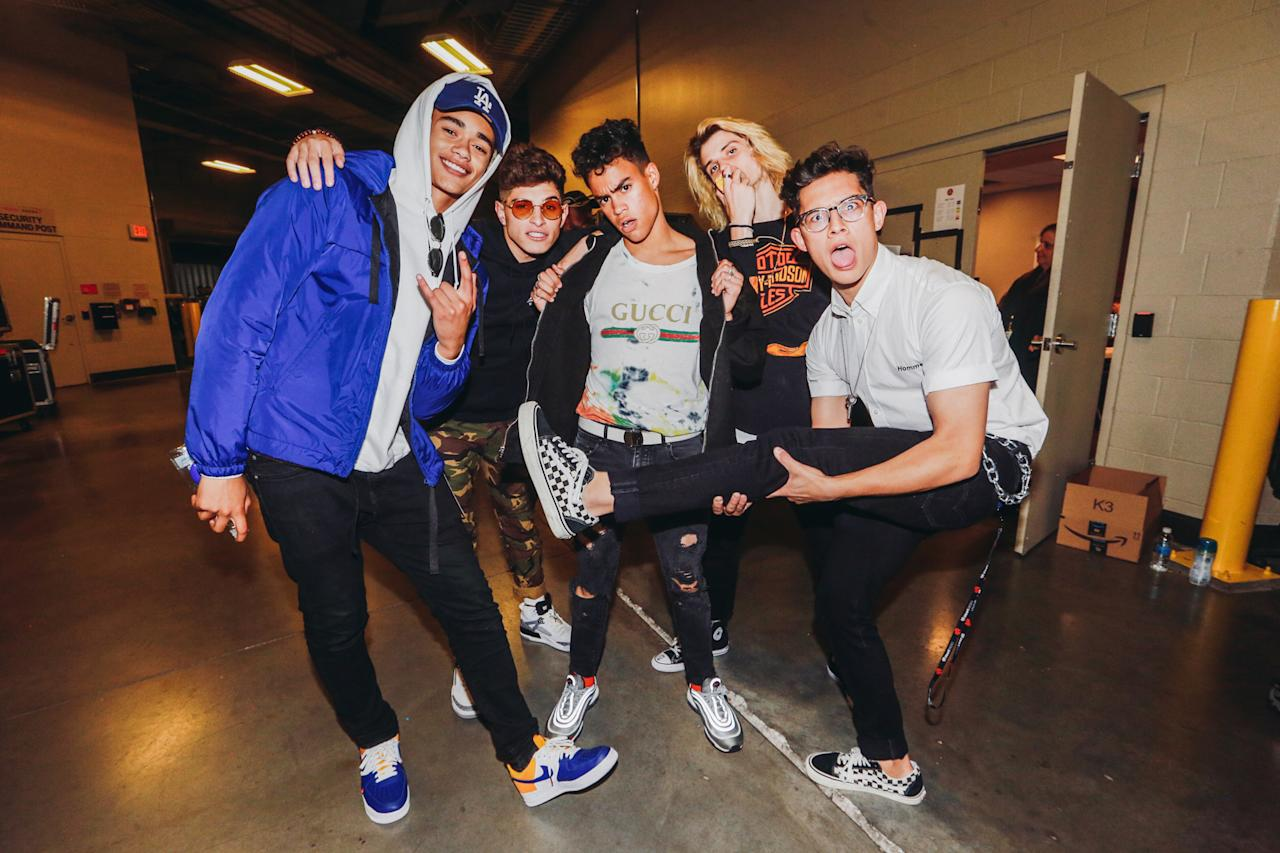 <p>LAS VEGAS, NV – SEPTEMBER 22: (L-R) Zion Kuwonu, Nick Mara, Edwin Honoret, Austin Porter, and Brandon Arreaga of music group PRETTYMUCH attend the 2017 iHeartRadio Music Festival at T-Mobile Arena on September 22, 2017 in Las Vegas, Nevada. (Photo: Getty Images for iHeartRadio) </p>