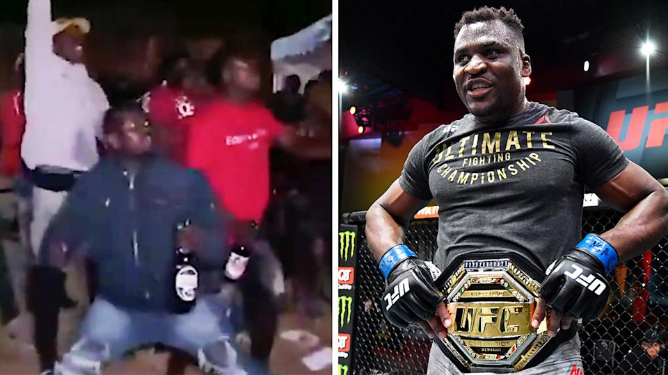 Fans celebrate in Cameroon (pictured left) and UFC star Francis Ngannou (pictured right) smiling with the heavyweight belt around his waist.