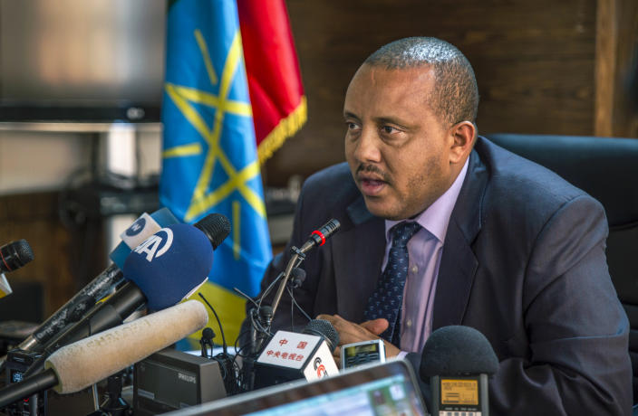 FILE - In this Monday, Oct. 10, 2016 file photo, Ethiopia's then Communication Affairs Minister Getachew Reda speaks to the media in the capital Addis Ababa, Ethiopia. Getachew Reda, now spokesman for the Tigray forces, said on Wednesday, June 30, 2021 that there will be no negotiations with the Ethiopian government until communications, transport and other services that have been cut or destroyed for much of the war are restored. (AP Photo, File)