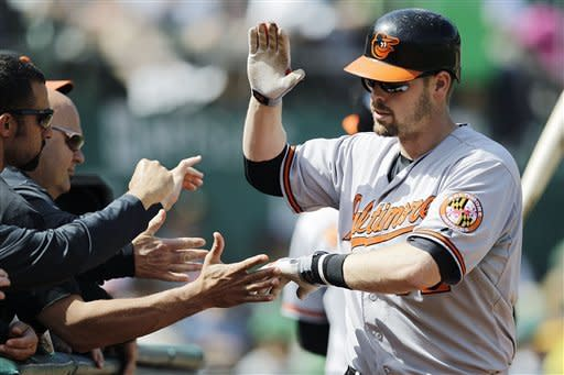Baltimore Orioles' Matt Wieters celebrates after hitting a home run off Oakland Athletics' Dan Straily in the fourth inning of a baseball game, Sunday, Sept. 16, 2012, in Oakland, Calif. (AP Photo/BenMargot)