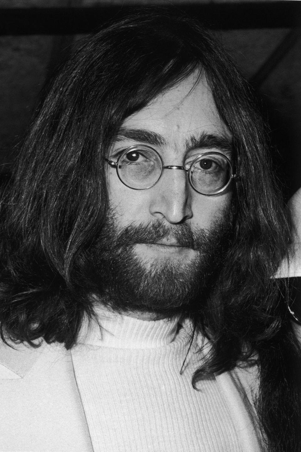 <p>The <em>Beatles</em> member was rarely seen without his small circular specs. </p>