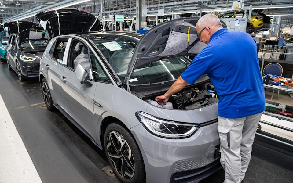 Electric car production at Volkswagen's Zwickau plant in Germany - Getty