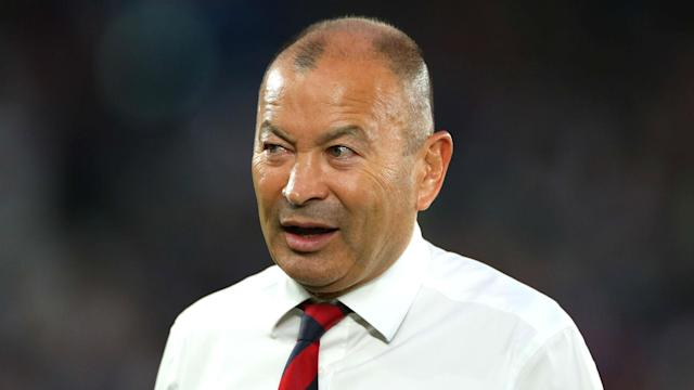 Eddie Jones has given little away over whether he would be prepared to remain in the England job until the next Rugby World Cup.