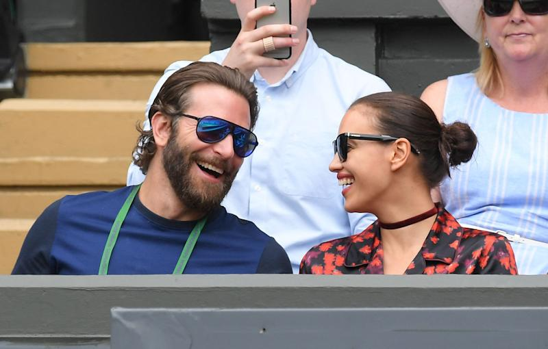 Bradley Cooper and Irina Shayk attend day eleven of the Wimbledon Tennis Championships at Wimbledon on July 08, 2016 in London, England. (Photo by Karwai Tang/WireImage)