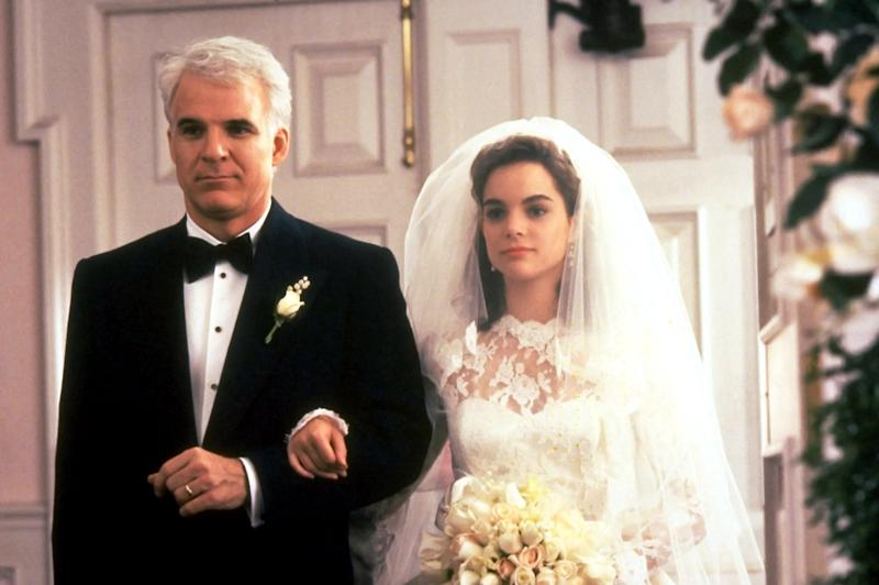 FATHER OF THE BRIDE, from left: Steve Martin, Kimberly Williams, 1991, Buena Vista Pictures/courtesy Everett Collection
