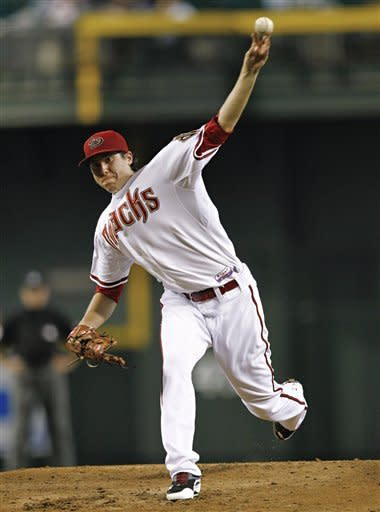 Arizona Diamondbacks' Tyler Skaggs delivers a pitch against the Miami Marlins during the third inning of a baseball game o Wednesday, Aug. 22, 2012, in Phoenix. (AP Photo/Matt York)
