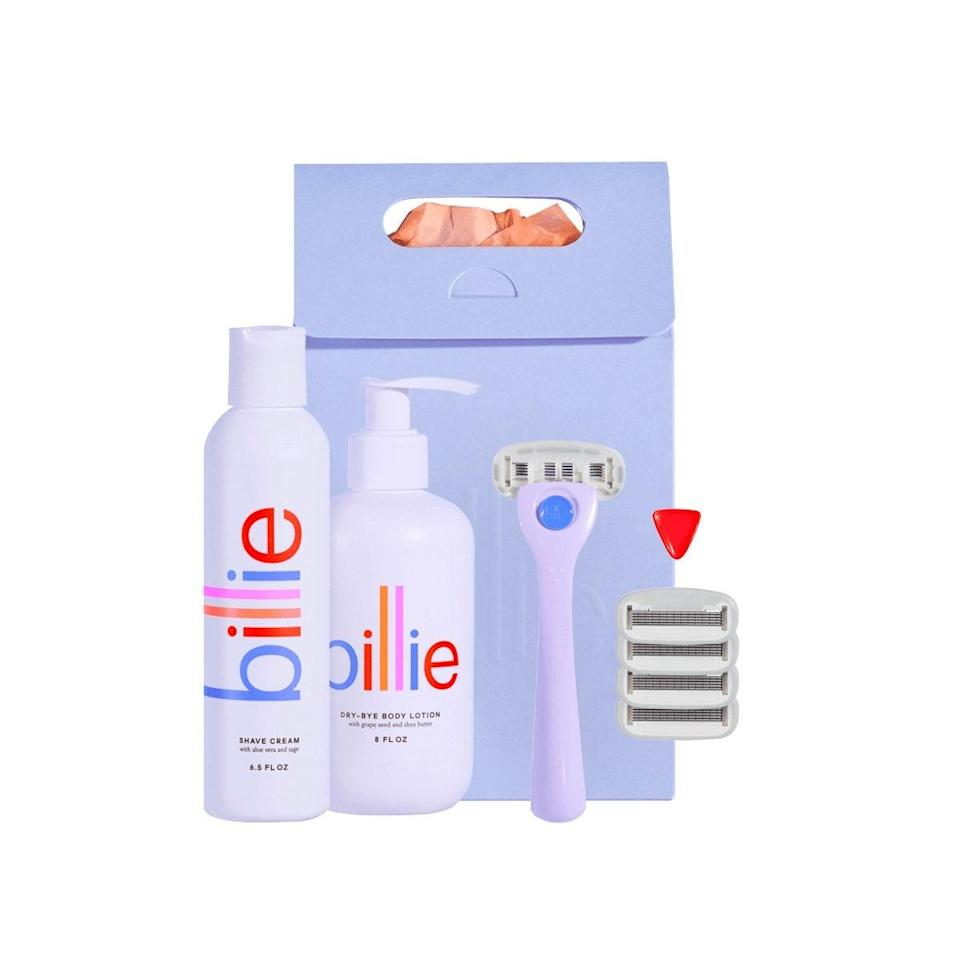 """Billie's shaving starter kit is a no-brainer for anyone on your list. The brand makes cute, affordable razors and body products that <em>actually</em> work. (We speak from <a href=""""https://www.glamour.com/story/billie-razor-review?mbid=synd_yahoo_rss"""" rel=""""nofollow noopener"""" target=""""_blank"""" data-ylk=""""slk:personal experience"""" class=""""link rapid-noclick-resp"""">personal experience</a>.) $35, Billie. <a href=""""https://mybillie.com/products/smooth-operator"""" rel=""""nofollow noopener"""" target=""""_blank"""" data-ylk=""""slk:Get it now!"""" class=""""link rapid-noclick-resp"""">Get it now!</a>"""