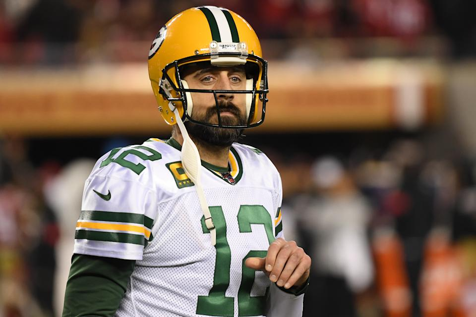 Aaron Rodgers #12 of the Green Bay Packers reacts after a play against the San Francisco 49ers