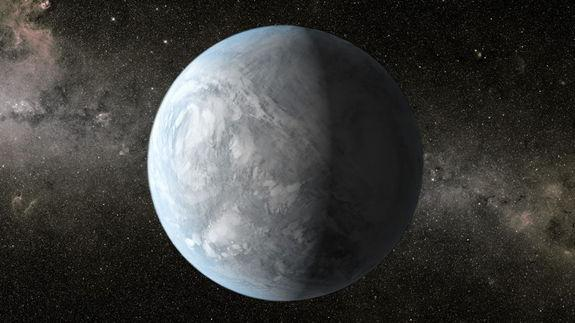 The artist's concept depicts Kepler-62e, a super-Earth planet in the habitable zone of a star smaller and cooler than the sun, located about 1,200 light-years from Earth in the constellation Lyra. Image released April 18, 2013.
