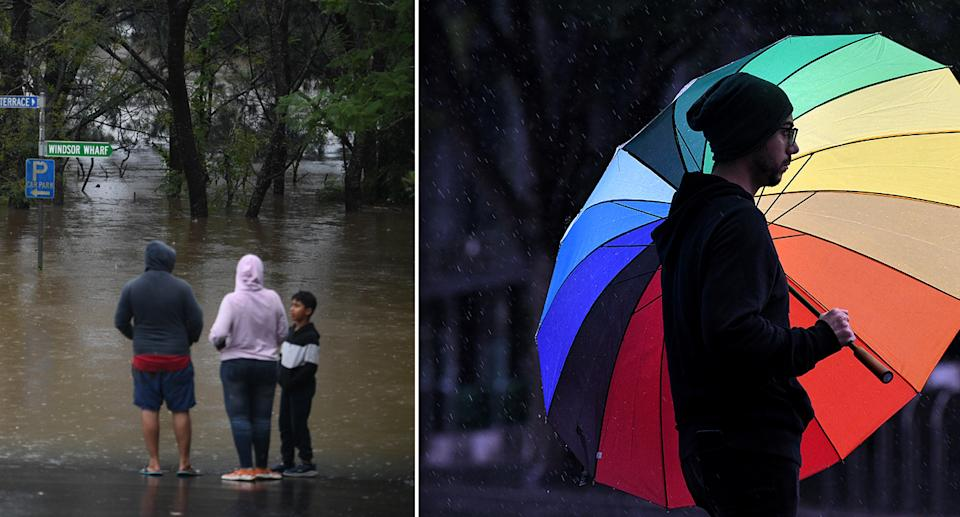 A family looks over floodwaters in NSW, while another man in Sydney's CBD stands under a colourful umbrella.