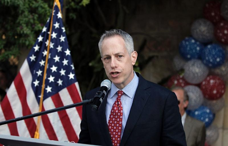 Michael Ratney, then US Consul General of Jerusalem, speaks at the American consulate in Jerusalem on June 4, 2015 during an American Independence day reception