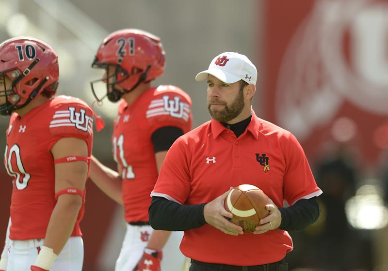 SALT LAKE CITY, UT - APRIL 13: Defensive Back coach Morgan Scalley before the Utah Utes Spring football game on April 13, 2019, at Rice-Eccles Stadium in Salt Lake City, Utah. (Photo by Boyd Ivey/Icon Sportswire via Getty Images)