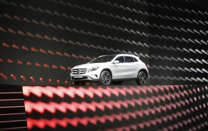 The new SUV Mercedes GLA is displayed during a media preview day at the Frankfurt Motor Show IAA