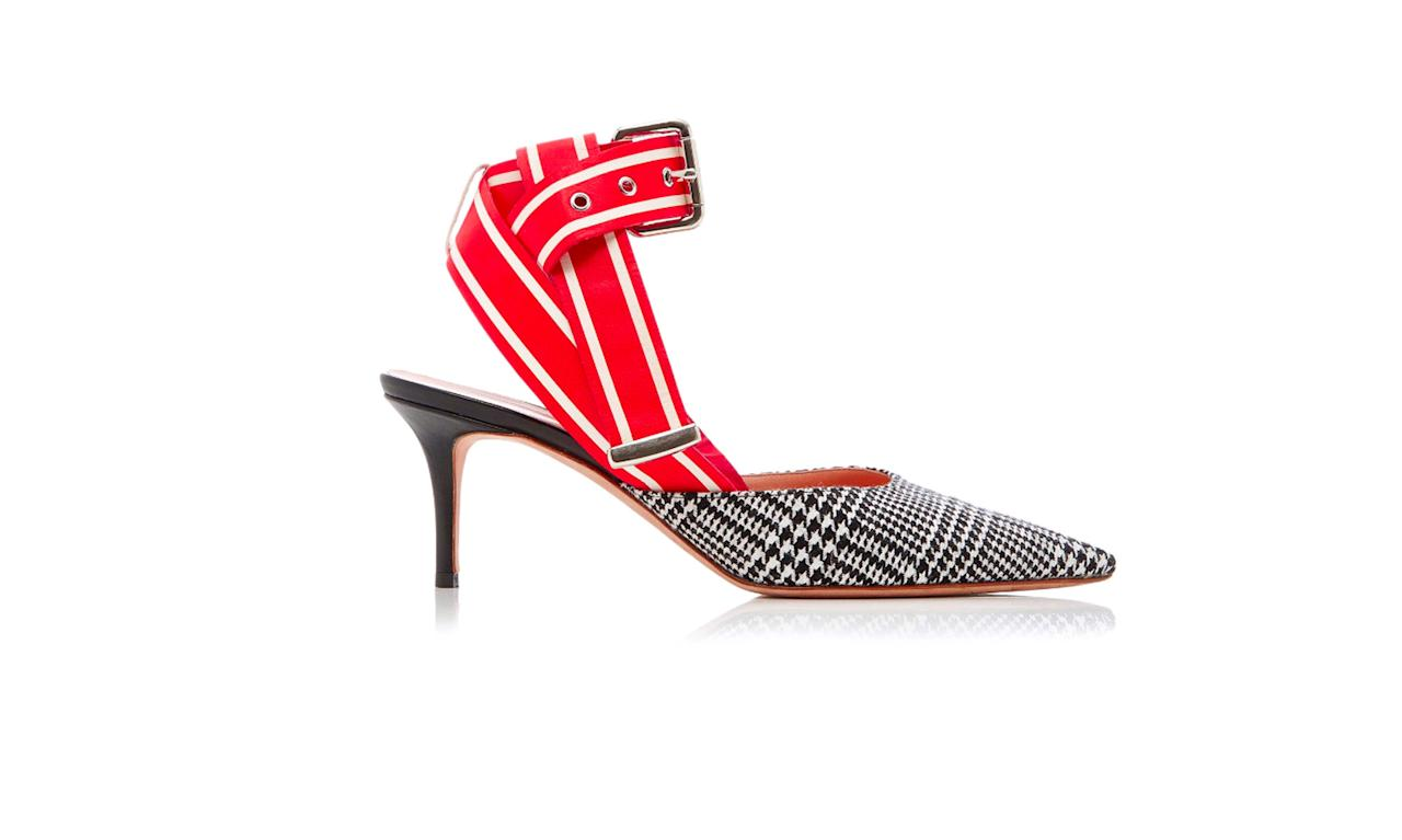 "<p>Glen Plaid Racing Strap Kitten Heel, $890, <a rel=""nofollow"" href=""https://www.modaoperandi.com/monse-r18/glen-plaid-racing-strap-kitten-heel#zoom"">modaoperandi.com</a> </p>"