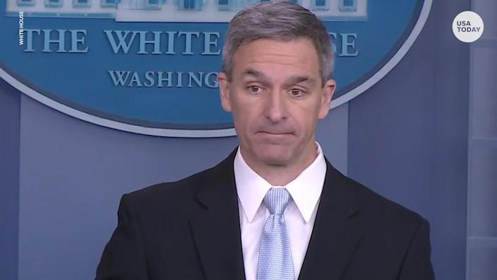 Ken Cuccinelli, acting deputy secretary of Homeland Security, speaks at the White House. The Trump administration wants to deny green cards to migrants deemed likely to need non-cash benefits such as food stamps, Medicaid or housing vouchers for more than a year.