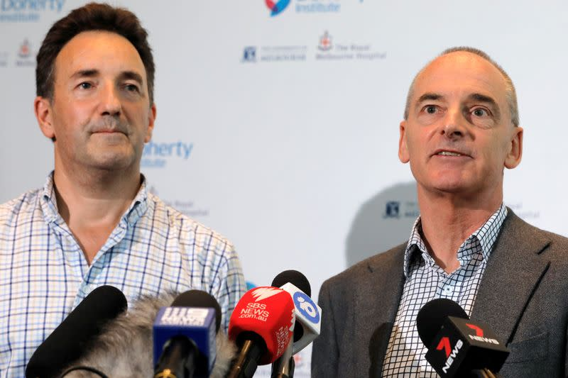The Royal Melbourne Hospital's Dr Julian Druce, Virus Identification Laboratory Head at the Doherty Institute and Dr Mike Catton, Deputy Director of the Doherty Institute address media to announce having successfully grown the Wuhan coronavirus from a pati