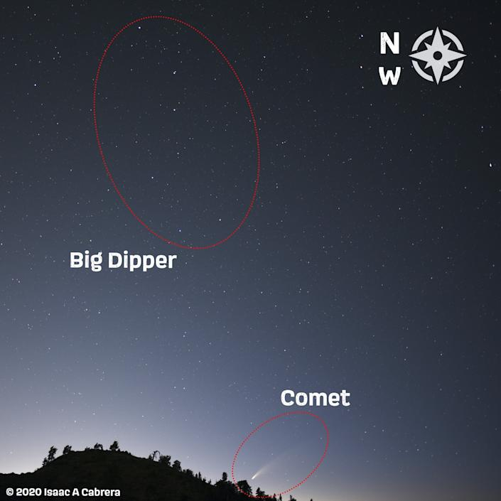 This photo illustration shows where to find Comet NEOWISE in the night sky.