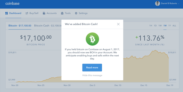 Notification about bitcoin cash to Coinbase customers upon login