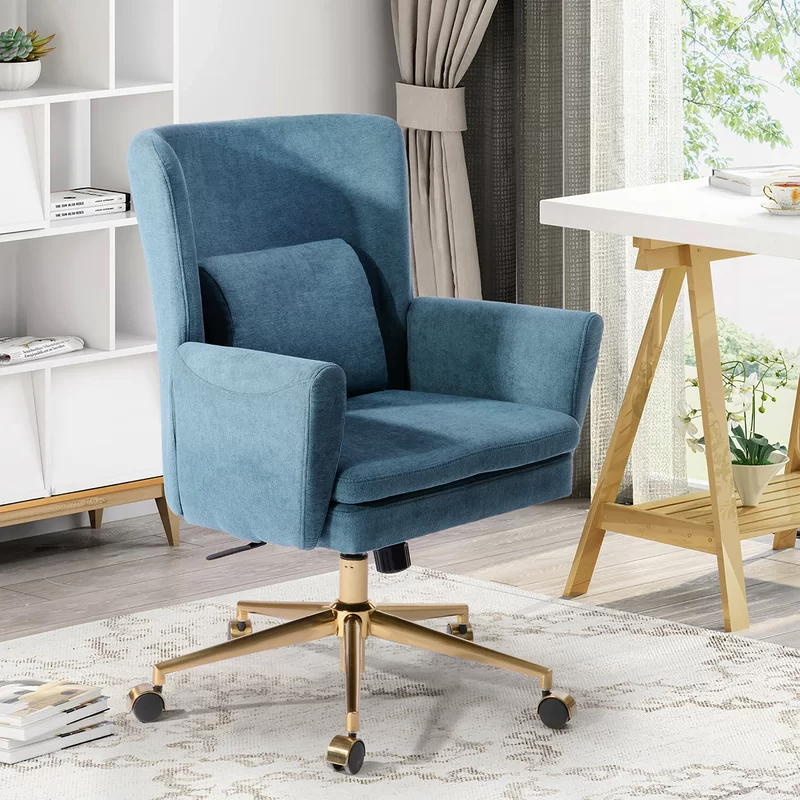 """<h2>Gold Flamingo Brandle Task Chair</h2><br><strong>Best For: Multi-Functional Design</strong><br>This stylish executive chair features a high back, armrests, and a lumbar support pillow. Plus, the blue upholstery and gold swivel feet makes this fashionable enough to blend seamlessly into your living room decor. <br><br><strong>The Hype: </strong>4.4 out of 5 stars and 147 reviews on <a href=""""https://www.wayfair.com/furniture/pdp/gold-flamingo-brandle-task-chair-w005269594.html"""" rel=""""nofollow noopener"""" target=""""_blank"""" data-ylk=""""slk:Wayfair"""" class=""""link rapid-noclick-resp"""">Wayfair</a><br><br><strong>Comfy Butts Say: </strong>""""Definitely the right chair for me. I live in a studio, so the rule of 'each piece I have here must have multiple functions' - so there was no room for another black office chair. I needed something comfortable enough for my 10 hours work-from-home schedule, but also good-looking enough to have a guest using it while having a laugh on the weekend. This definitely checks the marks. I like the snug feeling I have when I sit in, love the material and the fact that I can unzip and clean each part in case it's needed, or swap the pillows with fresh ones. I'm a big guy, and still works for me. For the price, I dare you to find a much better solution! Also, impressive fast delivery - I live in Toronto, ON, and I got it the next day! I mean, really??""""<br><br><strong>Gold Flamingo</strong> Brandle Task Chair, $, available at <a href=""""https://go.skimresources.com/?id=30283X879131&url=https%3A%2F%2Fwww.wayfair.com%2Ffurniture%2Fpdp%2Fgold-flamingo-brandle-task-chair-w005269594.html"""" rel=""""nofollow noopener"""" target=""""_blank"""" data-ylk=""""slk:Wayfair"""" class=""""link rapid-noclick-resp"""">Wayfair</a>"""
