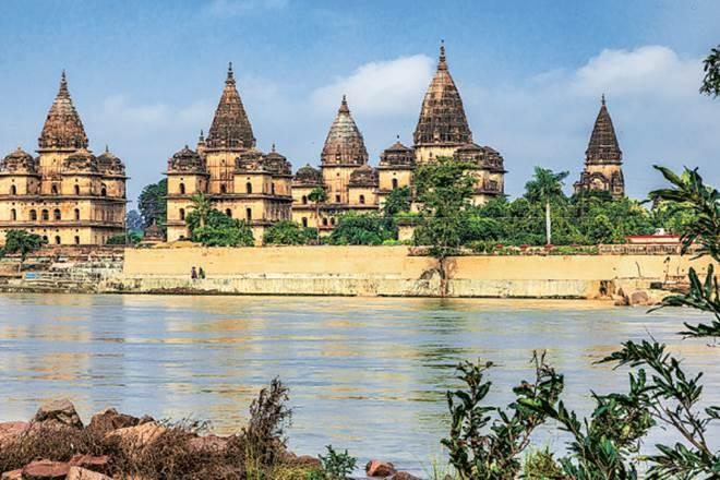 The famous royal chhatris, or cenotaphs, on the banks of the Betwa river
