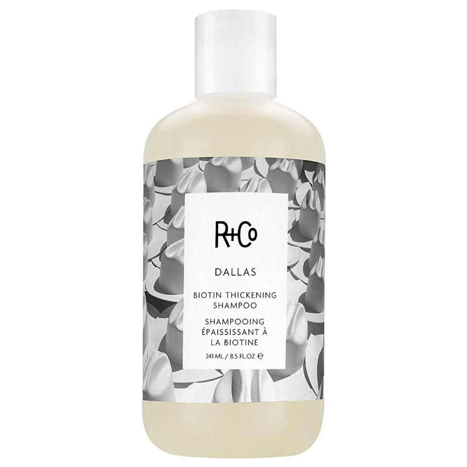 "<p>Breathe life into fine, flat hair with R+Co's Dallas Biotin <a href=""https://www.allure.com/story/best-shampoos-for-thinning-hair?mbid=synd_yahoo_rss"" rel=""nofollow noopener"" target=""_blank"" data-ylk=""slk:Thickening Shampoo"" class=""link rapid-noclick-resp"">Thickening Shampoo</a> (and <a href=""https://www.amazon.com/Co-Dallas-Thickening-Conditioner-8-5/dp/B017GRKO3C"" rel=""nofollow noopener"" target=""_blank"" data-ylk=""slk:Conditioner"" class=""link rapid-noclick-resp"">Conditioner</a>). Aside from biotin, which is a star thickening and strengthening ingredient, saw palmetto berry extract adds body to hair, while pro-vitamin B5, coconut oil, and loquat fruit extract hydrates, adds shine, and prevents future breakage. </p> <p><strong>$26</strong> (<a href=""https://www.amazon.com/Co-Dallas-Thickening-Shampoo-8-5/dp/B017GGC9BI"" rel=""nofollow noopener"" target=""_blank"" data-ylk=""slk:Shop Now"" class=""link rapid-noclick-resp"">Shop Now</a>)</p>"