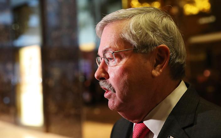 Then-Iowa Gov. Terry Branstad speaks with members of the media at Trump Tower following meetings in New York City, in this Dec. 6, 2016 file photo. President Trump tapped Branstad as U.S. Ambassador to China. / Credit: Getty