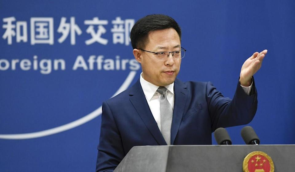 Chinese Foreign Ministry spokesman Zhao Lijian is seen during the daily news briefing in Beijing on Tuesday. Photo: Kyodo