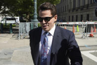 Anthony Scaramucci leaves Federal court in New York, Thursday, June 24, 2021. He was to testify in the trial of Chicago banker, Stephen Calk, on charges he tried to buy himself a senior post in former President Donald Trump's administration by making risky loans to Trump onetime campaign chairman, Paul Manafort. (AP Photo/Richard Drew)