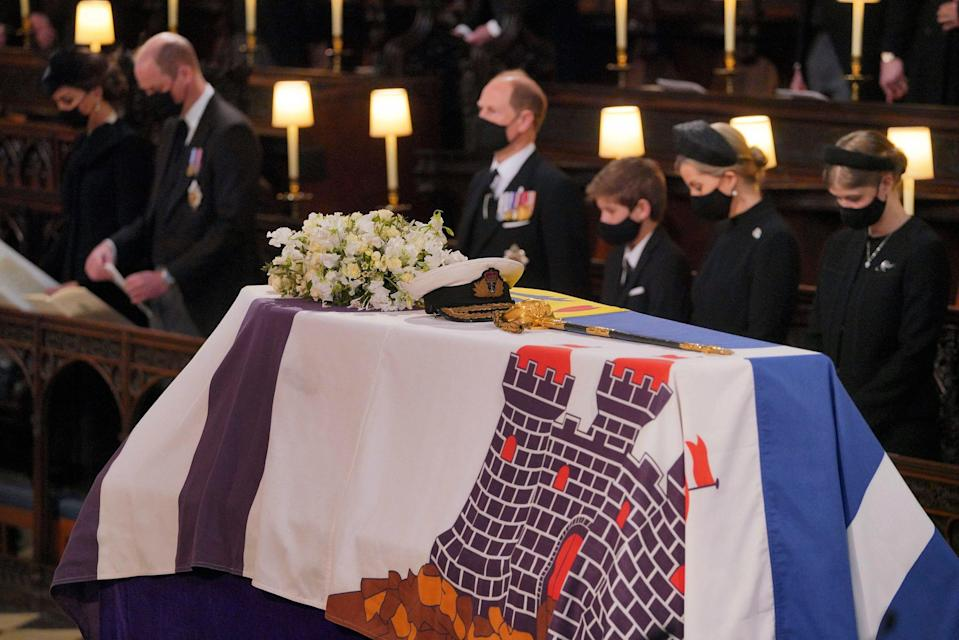Mourners including, front row from left, Kate, Duchess of Cambridge, Prince William, Prince Edward, Viscount Severn, Lady Louise Mountbatten-Windsor, and Sophie, Countess of Wessex, during the funeral of Prince Philip.