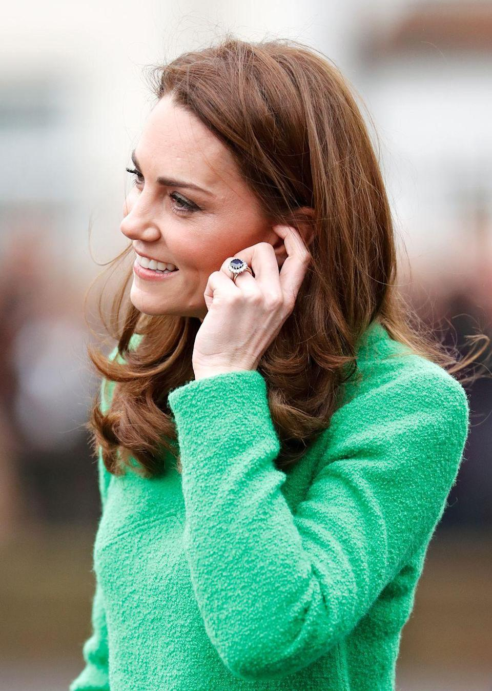 """<p>Kate's engagement ring, which originally belonged to Princess Diana, was controversial back in the day. According to the <em>Daily Mail</em>, the 12-carat oval Ceylon sapphire was available to commoners...and let's just say that didn't sit well with the royal family. More on that <a href=""""https://www.dailymail.co.uk/news/article-6070797/Why-Princess-Dianas-engagement-ring-caused-upset-Royals.html"""" rel=""""nofollow noopener"""" target=""""_blank"""" data-ylk=""""slk:here"""" class=""""link rapid-noclick-resp"""">here</a>. </p>"""