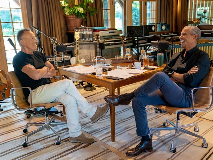 <p>Rock and roll legend Bruce Springsteen and Barack Obama during podcast</p> (Spotify)