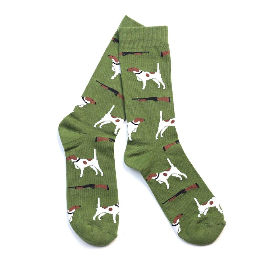 """<p><strong>Southern Socks</strong></p><p>southernsocks.com</p><p><strong>$12.00</strong></p><p><a href=""""https://southernsocks.com/products/bird-dog-socks"""" rel=""""nofollow noopener"""" target=""""_blank"""" data-ylk=""""slk:Shop Now"""" class=""""link rapid-noclick-resp"""">Shop Now</a></p><p>Printed socks make a business casual outfit way more fun.</p>"""