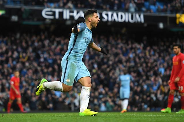 On target: Sergio Aguero: Getty Images