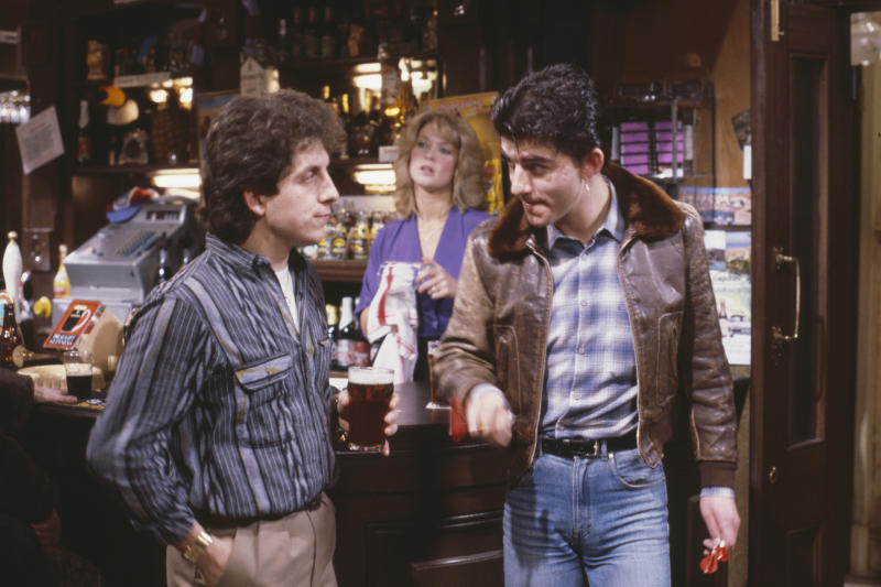 Actors (L-R) Nejdet Salih, Gillian Taylforth and John Altman in a scene from the BBC soap opera 'EastEnders', 1984. (Photo by Don Smith/Radio Times/Getty Images)