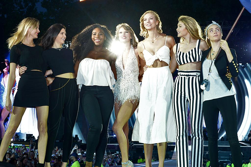 """<p><strong>Status</strong>: Out<br /><strong>Why</strong>: Although Kim Kardashian claims Kendall Jenner <a rel=""""nofollow"""" href=""""http://www.eonline.com/shows/e_news/news/857933/kim-kardashian-talks-taylor-swift-says-she-doesn-t-think-kendall-jenner-was-ever-in-singer-s-squad"""">was never actually <em>in</em> Taylor's squad</a>, we disagree. Taylor brought the model out as a surprise guest during one of her <em>1989</em> tour stops and the two <a rel=""""nofollow"""" href=""""http://www.usmagazine.com/celebrity-news/news/taylor-swift-kendall-jenner-decorate-for-christmas-together-video-20141112"""">documented a few hangouts</a> in 2015 on social media. However, when Kendall rekindled things with Taylor's ex, Harry Styles, all of that stopped. Oh, and there was also the whole Kim Kardashian-Taylor Swift-Kanye West feud. We don't see Kendall getting back in Taylor's squad any time soon. (Photo: Dave Hogan/TAS/Getty Images for TAS) </p>"""