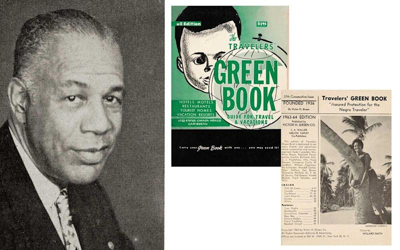 Victor Hugo Green and the cover of Green Book, 1960 with interior page from 1963-64. | Victor H. Green & Co.