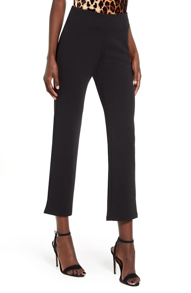 "<p>I love these <a href=""https://www.popsugar.com/buy/Leith-High-Waist-Slim-Pants-546655?p_name=Leith%20High%20Waist%20Slim%20Pants&retailer=shop.nordstrom.com&pid=546655&price=29&evar1=fab%3Auk&evar9=47181671&evar98=https%3A%2F%2Fwww.popsugar.com%2Ffashion%2Fphoto-gallery%2F47181671%2Fimage%2F47181675%2FLeith-High-Waist-Slim-Pants-in-Black&list1=shopping%2Cnordstrom%2Cwinter%2Ceditors%20pick%2Cpants%2Cwinter%20shopping&prop13=api&pdata=1"" rel=""nofollow"" data-shoppable-link=""1"" target=""_blank"" class=""ga-track"" data-ga-category=""Related"" data-ga-label=""https://shop.nordstrom.com/s/leith-high-waist-slim-pants/5153057/full"" data-ga-action=""In-Line Links"">Leith High Waist Slim Pants</a> ($29, originally $49) styled with a fun top and heels for a night out.</p>"