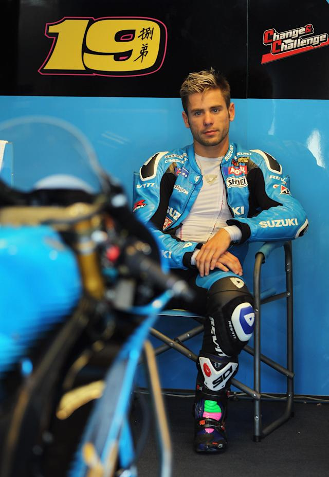 INDIANAPOLIS, IN - AUGUST 27: Alvaro Bautista #19 of Spain looks out from the pit garage during Moto GP qualifying at Indianapolis Motorspeedway on August 27, 2011 in Indianapolis, Indiana. (Photo by Jamie Squire/Getty Images)
