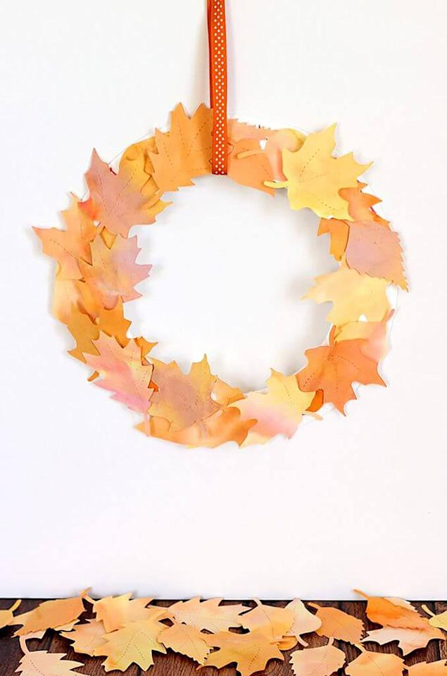 "<p>Give you kids a stack of watercolor paper and a brush and let them get to work creating the mesmerizing pages to create this wreath. The more color, the better.</p><p><strong>Get the tutorial at <a rel=""nofollow"" href=""https://www.happinessishomemade.net/kids-craft-watercolor-fall-leaf-wreath/"">Happiness Is Homemade</a>. </strong><br></p>"