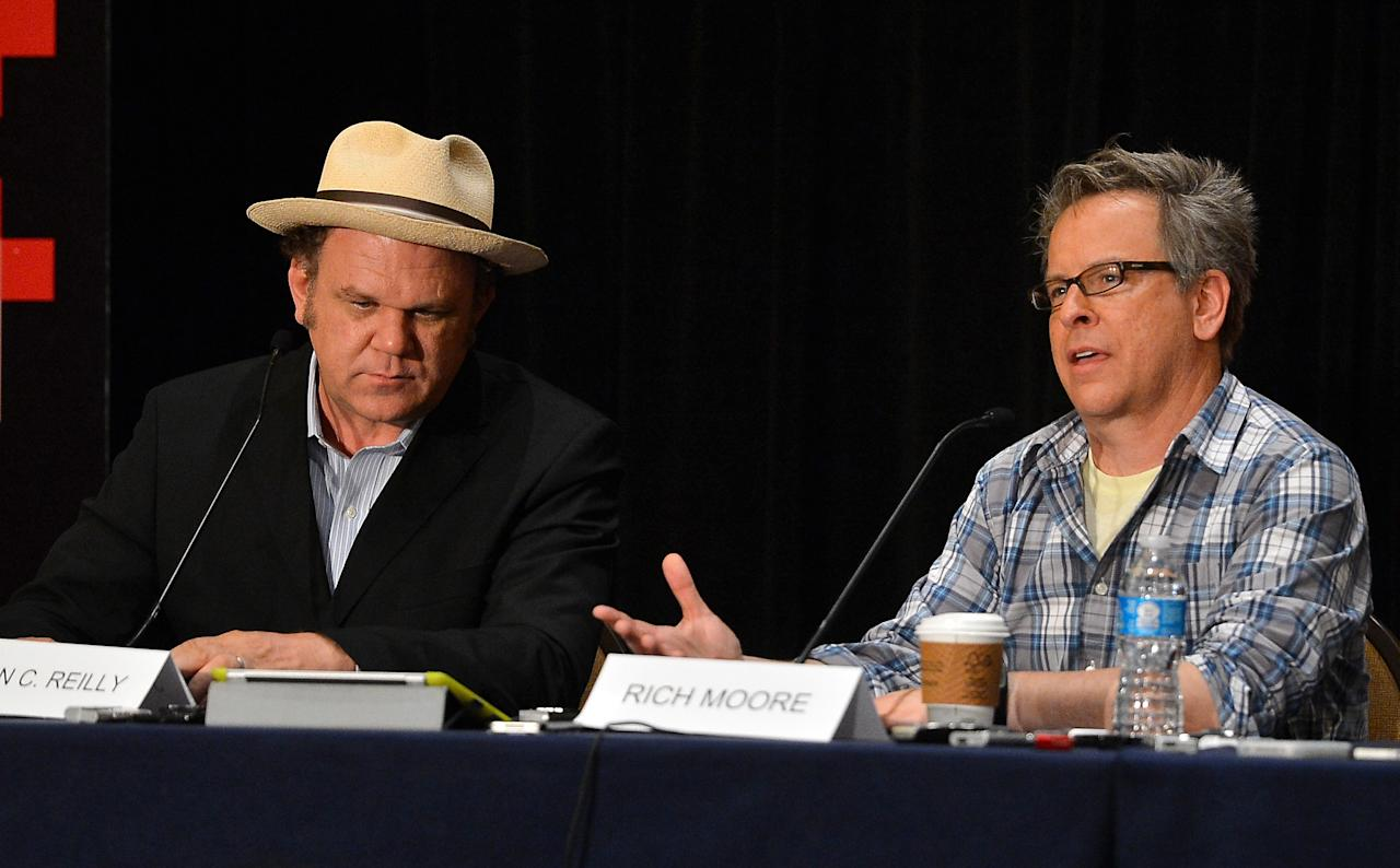 """SAN DIEGO, CA - JULY 12:  Actor John C. Reilly and director Rich Moore attend Walt Disney Studios: """"Frankenweenie,"""" """"Wreck It Ralph"""" and """"Oz"""" during Comic-Con International 2012 held at the Hilton San Diego Bayfront Hotel on July 13, 2012 in San Diego, California.  (Photo by Frazer Harrison/Getty Images)"""