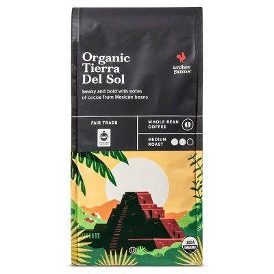 """<p><strong>Archer Farms</strong></p><p>target.com</p><p><strong>$5.99</strong></p><p><a href=""""https://www.target.com/p/organic-tierra-del-sol-medium-roast-whole-bean-coffee-10oz-archer-farms-8482/-/A-50566953"""" rel=""""nofollow noopener"""" target=""""_blank"""" data-ylk=""""slk:BUY NOW"""" class=""""link rapid-noclick-resp"""">BUY NOW</a></p><p>The sophisticated, complex taste of Target's in-house brand of coffee is a pleasant surprise. Hints of the fruity and floral taste make for a cup coffee that tastes way more expensive than it really is.</p>"""