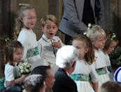 """<p>Per royal tradition, young family members play significant roles in weddings, which means if you're old enough to walk, you're old enough to be a bridesmaid or pageboy. Charlotte, Savannah, and George were definitely in on a secret joke while at <a href=""""https://www.cosmopolitan.com/entertainment/celebs/g23740861/princess-eugenie-wedding-secrets/"""" rel=""""nofollow noopener"""" target=""""_blank"""" data-ylk=""""slk:Princess Eugenie of York's wedding"""" class=""""link rapid-noclick-resp"""">Princess Eugenie of York's wedding</a> back in October 2018.</p>"""