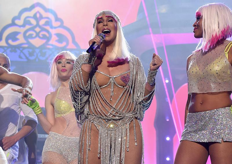 Cher performs during the 2017 Billboard Music Awards.