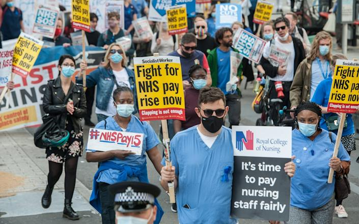 NHS workers march from the BBC headquarters to Trafalgar Square - Getty Images Europe