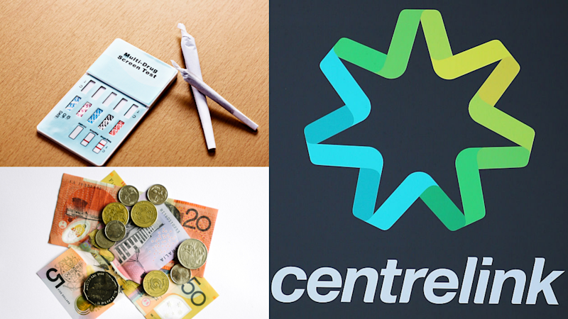 Pictured: Centrelink logo, drug test and Australian cash suggesting Newstart payment. Images: Getty