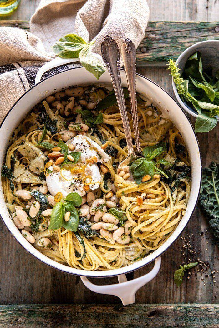 """<a href=""""https://www.halfbakedharvest.com/one-pot-creamy-tuscan-pesto-and-artichoke-pasta/"""" target=""""_blank"""" rel=""""noopener noreferrer""""><strong>One-Pot Creamy Tuscan Pesto and Artichoke Pasta from Half Baked Harvest</strong></a>"""