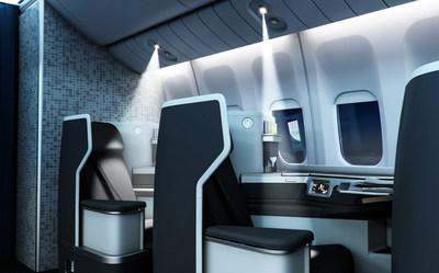 The Collins Aerospace μLED Reading Light is a small reading and dome light that works in unison with the cabin lighting system to create scenes that synergistically add to the general cabin environment.