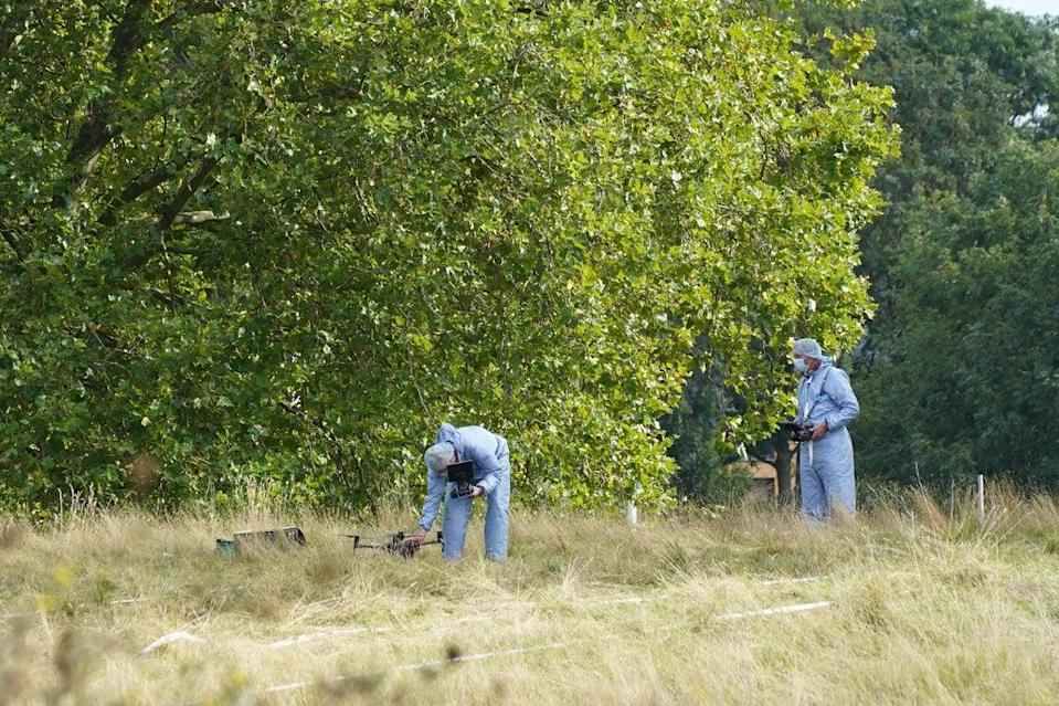 Forensic Officers in Cator Park, Kidbrooke, south London, near to the scene where the body of Sabina Nessa was found. (PA)