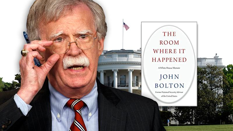 John Bolton and his book due out in March. (Photo illustration: Yahoo News; photos: AP (2), Amazon.