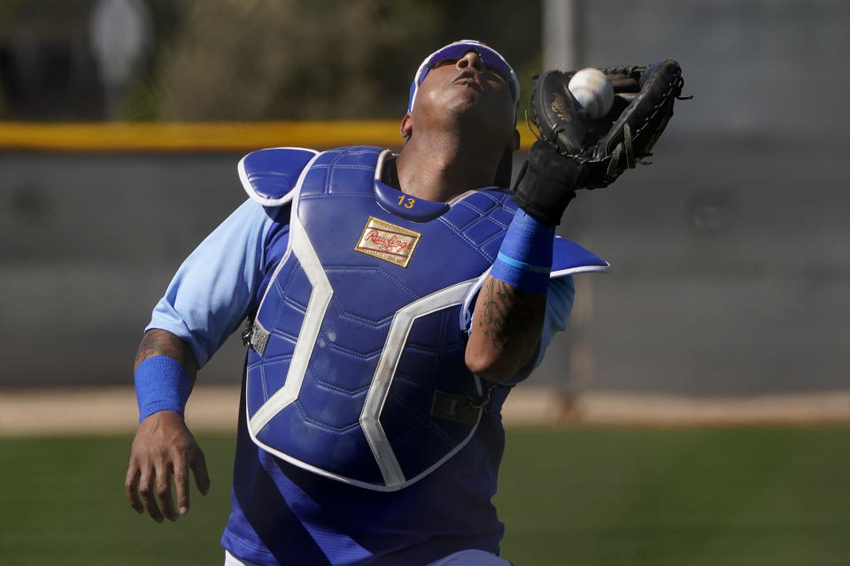 Kansas City Royals' Salvador Perez catches a ball during spring training baseball practice Wednesday, Feb. 24, 2021, in Surprise, Ariz. (AP Photo/Charlie Riedel)
